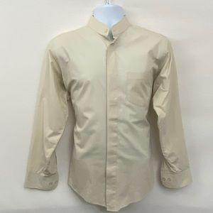 Men's Lucasini Cream Dress Shirt Size 15 1/2 X-36